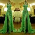 Verde lindo Alta Neck Lace Prom Vestidos Com Fenda Sexy Sereia de Cristal Frisado vestido de formatura
