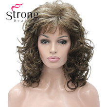"StrongBeauty 18"" Long Wavy Light Brown Highlighted Full Synthetic Wig COLOUR CHOICES"