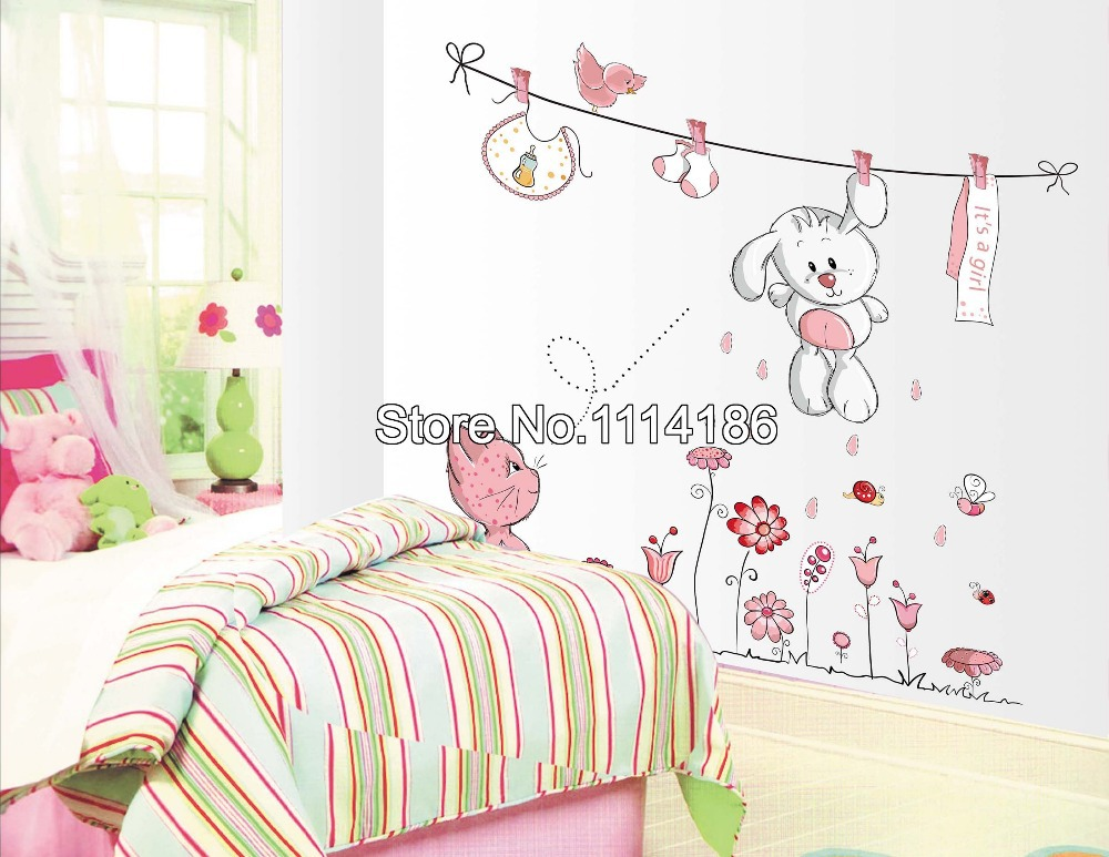 New Pink Cartoon Cat Drying Clothes Wall Sticker For Baby Girls U0026 Kids  Rooms Home Decoration Wall Decals In Wall Stickers From Home U0026 Garden On ... Part 25