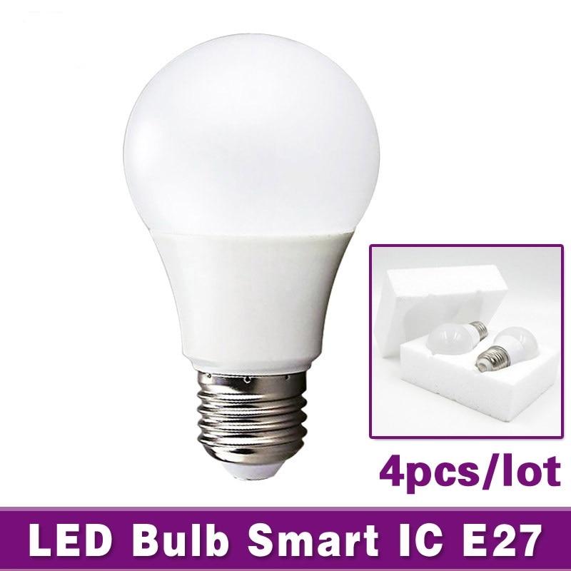 4pcs LED Bulb Lamp E27 3W 5W 7W 9W 12W 15W AC 220V Smart IC SMD2835 Light Lampada De Bombillas LED Light Cold White Warm White