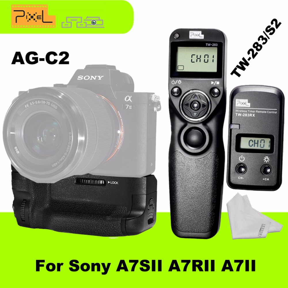 Profession Grip Pixel AG-C2 Battery Grip with TW-283/S2 Wireless Timer Remote Shutter Release Control For Sony A7SII/A7RII/A7II