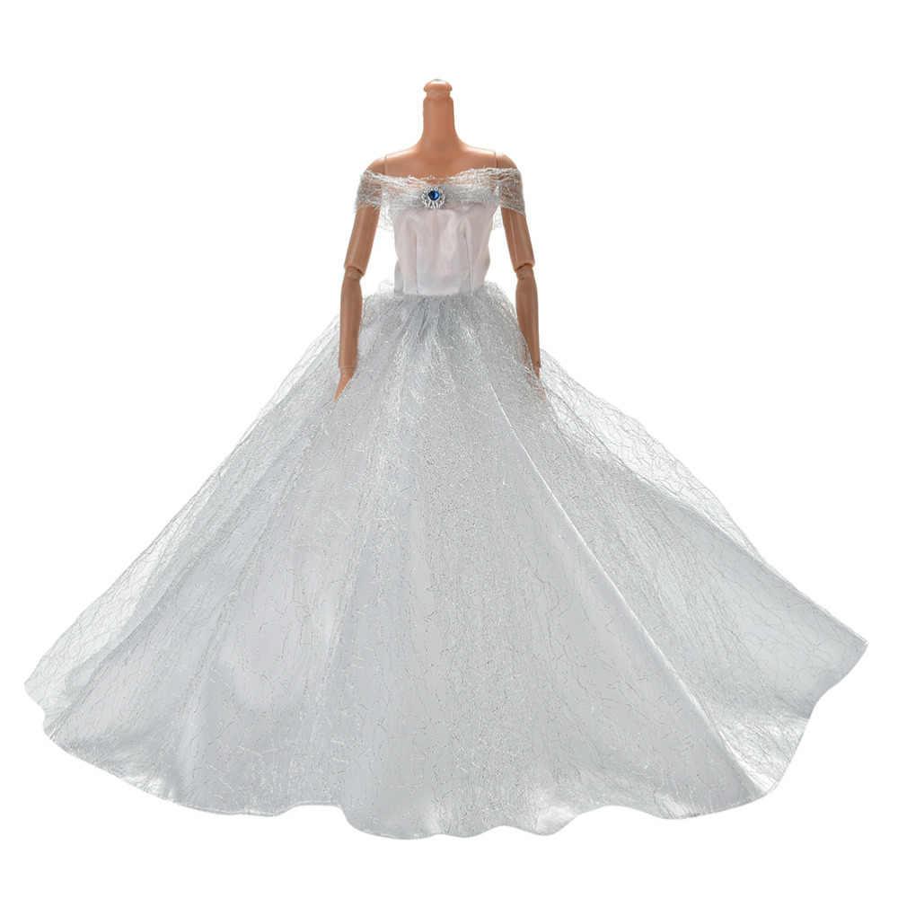 7 色優雅な夏の服のためにガウン人形 Handmake 王女のウェディングドレスビーティ人形パーティードレスホット販売