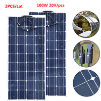200W 20V Solar Panel Monocrystalline Silicon Solar Board Power Generater Flexible Solar Board Portable Solar Panel 100W 2pcs/lot