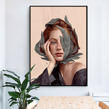 Creative Anime Alien Girl Canvas Painting Bird Leaf Flowers Butterfly Poster Print Wall Art For Living Room Girl Room Home Decor(China)
