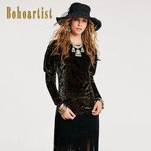 Bohoartist Women Loose Pleuche T Shirt 2018 Autumn Black O Neck Floral Print Long Sleeve Bohomian Winter Ladies Elegant T Shirts