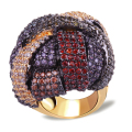 Deluxe Design New Arrive with Multi Colors Cubic Zirconia Women Brass Rings Large Ring