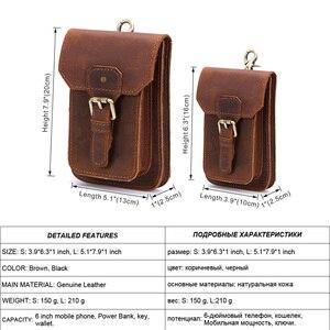 Image 2 - MISFITS 2019 NEW Genuine Leather Vintage Waist Packs Men Travel Fanny Pack Belt Loops Hip Bum Bag Waist Bag Mobile Phone Pouch