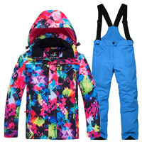 2019 новый детский лыжный костюм, уличная теплая водостойкая лыжная куртка для мальчиков и девочек Хлопковое зимнее пальто и брюки, 2 предмета