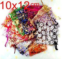 Купить с кэшбэком 50pcs 12x10cm Love heart flower 20color chinese Christmas / Wedding voile gift bag Organza Bags Jewlery packing Gift Pouch BZ03