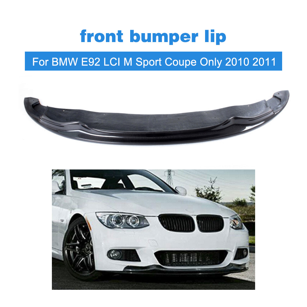 3 Serise Carbon Fiber Car Front Bumper Lip spoiler For BMW E92 LCI M Sport Coupe Only 2010 2011 FRP Unpainted 2007 bmw x5 spoiler