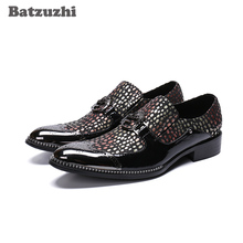 New Arrival Men Shoes Pointed Toe with Metal Cap Black Colorful Formal Leather Shoes Men Slip-on Zapatos Hombre Party Shoes Men new arrival black alligator genuine leather handmade metal tip spikes pointed toe slip on formal dress shoes sexy fashion mans