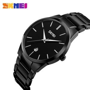 Image 1 - SKMEI montres de luxe pour hommes montres à Quartz Ultra minces 5Bar bracelet en acier inoxydable minimaliste étanche Reloj Hombre
