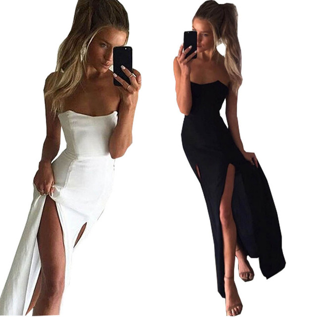 4699654676 Summer Fashion Women Long Maxi Tube Dress Strapless Double High Slit Black  White Fit and Flare Dress Club Party Vestidos WQZ195