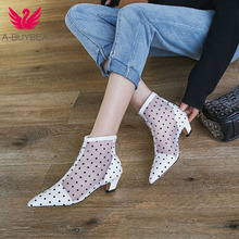 купить Spring New High Quality Women Boots Genuine Leather Ankle Boots Lace Summer Boots Square High Heel Pointed Toe Women Shoes по цене 2173.25 рублей