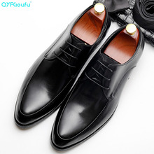 QYFCIOUFU Luxury Mens Genuine Leather Shoes Brand Black Wine Red Men Party Wedding Dress Shoe Business Office
