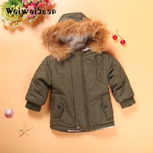 Baby Boys Winter Jacket in Army Green Thick Removable Fur Hooded Warm Coats Kids Boys Padded Winter Warm Outwear все цены