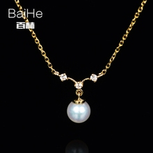 BAIHE Solid 14K Yellow Gold 4MM Certified 100% Genuine Natural Pearl Anniversary Women Trendy Jewelry Elegant unique Necklaces
