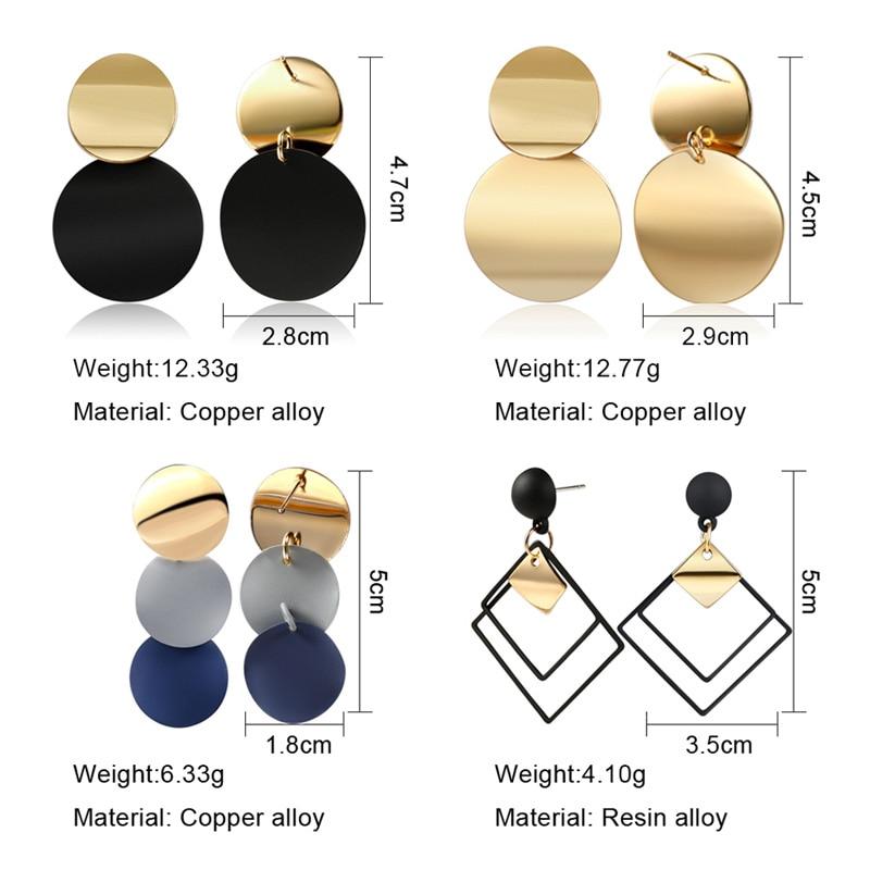 X&P New Korean Heart Statement Drop Earrings 2020 for Women Fashion Vintage Geometric Acrylic Dangle Hanging Earring Jewelry 3