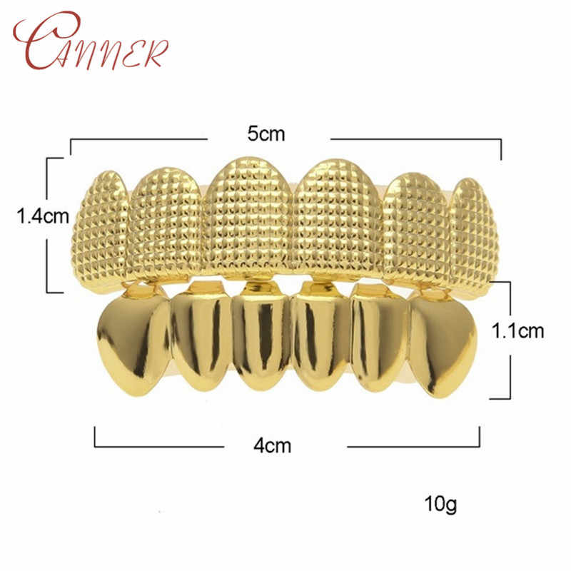 CANNER хип-хоп мужской набор из 6 верхних и нижних зубцов золотистого и серебристого цвета с имитацией зубных зубов Grillz Bump решетка стоматологический гриль раппер ювелирные изделия для тела