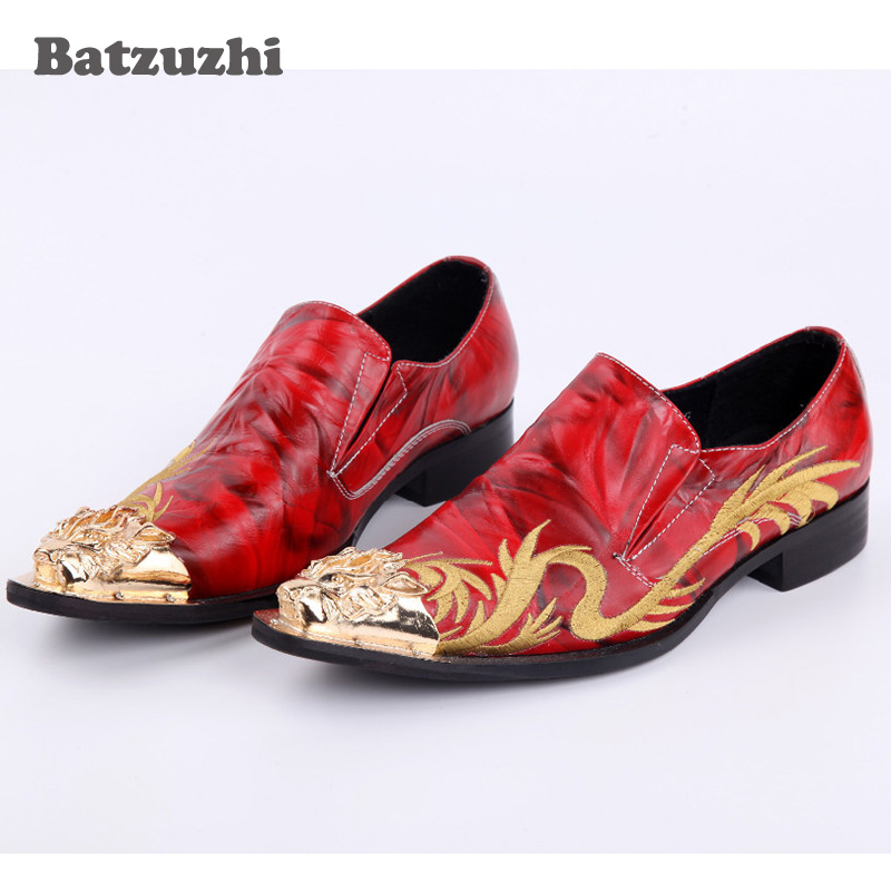 Luxury Rock Men Shoes Embroidery Handmade Men Leather Shoes Metal Toe Men Oxfords Red Wedding and Party Shoes Flats, Big Size 12 choudory dragon embroidery handmade men leather shoes men loafers wedding and party shoes metal tip men flats size 38 46 us12