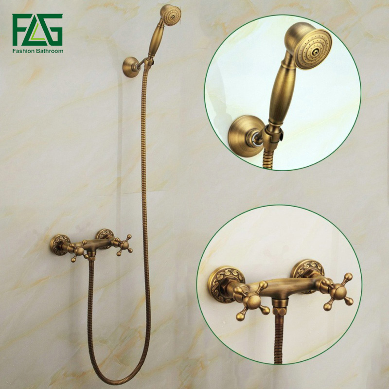 FLG New Luxury Beautiful Hot and cold Shower Set Antique Brass Double Handle Wall Mounted Bath Faucet Bathroom Mixer Tap HS014 beautiful winter river and trees print bath decor shower curtain