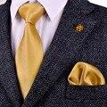 Atacado Sólidos Verificado Ouro Amarelo Laços Gravatas Dos Homens Conjunto Gravata 100% Jacquard de Seda Tecido Quadrado Bolso Ocasional Formal do Negócio Novo