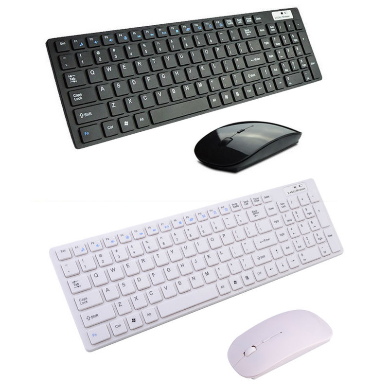 2.4G Whisper-quiet Wireless Keyboard and Mouse for Windows 7/8/XP/NT/ME Vista Combo Ultra Portable Black/White