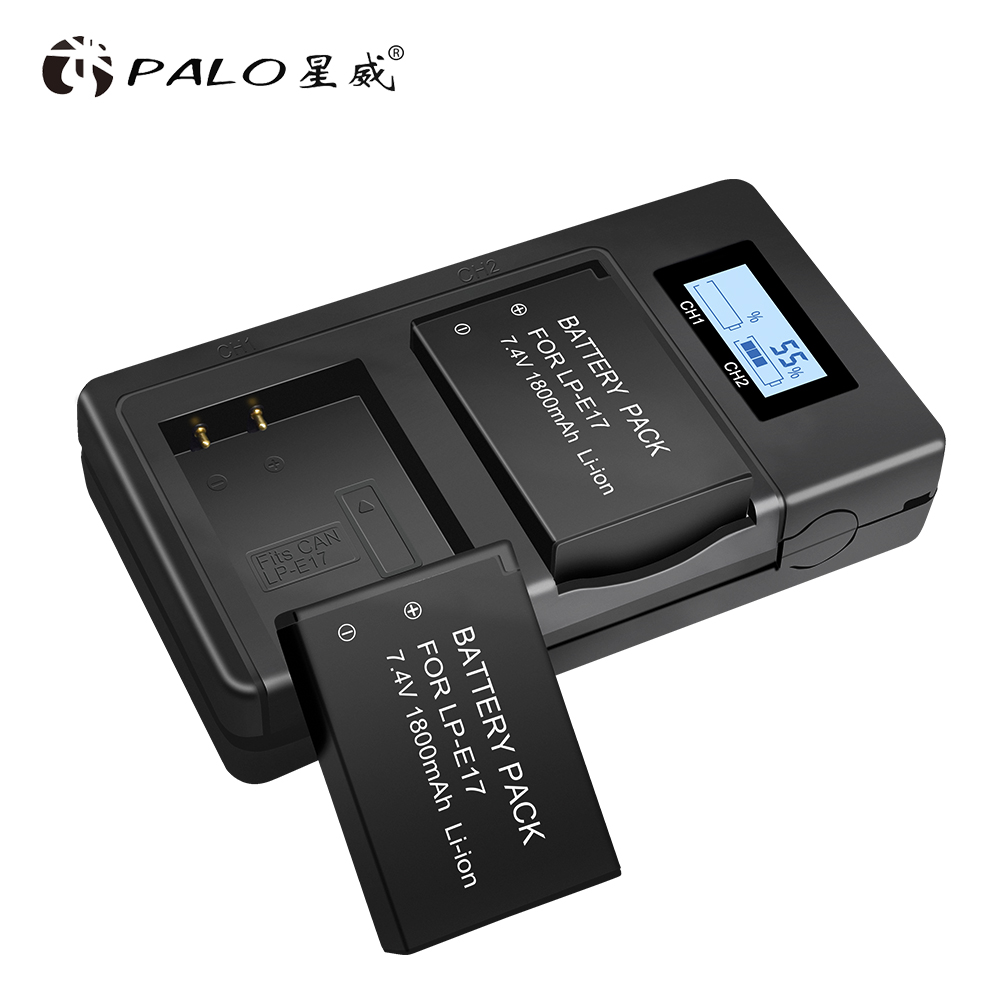 PALO 2pcs LP E17 camera battery+2slot LCD display charger For Canon EOS 750D 200D 760D T6i T6S M3 M5 X8i 8000D KISS X8i cameras