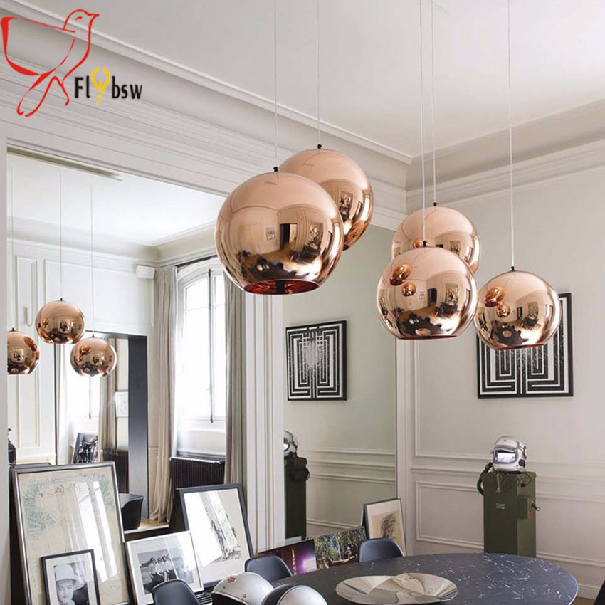 Dia 15 20cm Glass Mirror Ball Pendant Light,Copper Silver Gold Electroplate  Glass Hanging Lamp Lighting Fixture For Dining Room