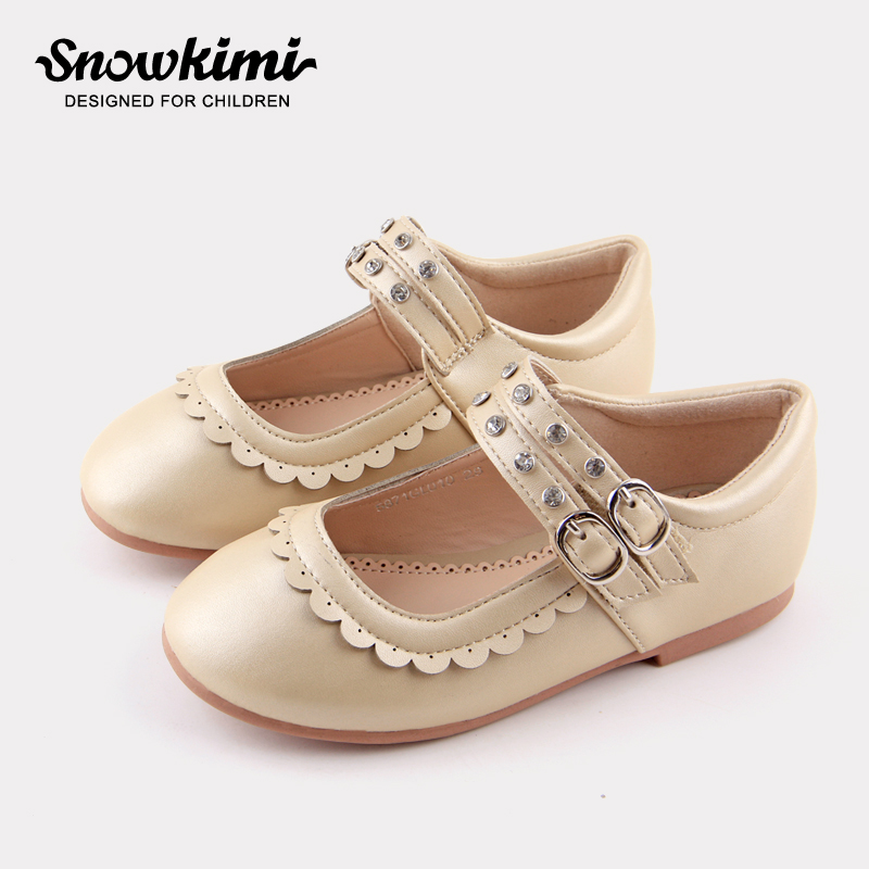Snowkimi2018 spring childrens college shoes round flat with the girl fashion rhinestone princess shoes girl shallow breathable