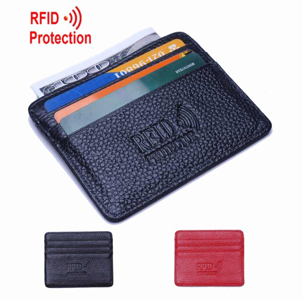 Super Slim Soft RFID Card Holders 100% Sheepskin Genuine Leather Mini Credit Card Holder Wallet Men Brand Thin Small Purse R12