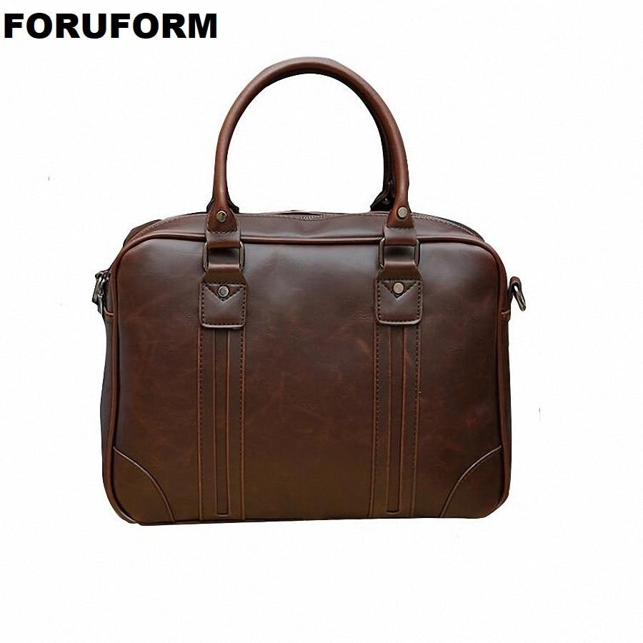 Briefcase For Male Crazy Horse Leather Retro Business Single Shoulder Bag Man Casual Workout Handbag Men Crossbody Bags LI-2405