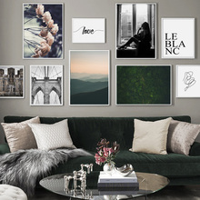 Flower Bridge Mountain forest Body Art Nordic Posters And Prints Wall Canvas Painting Pictures For Living Room Decor