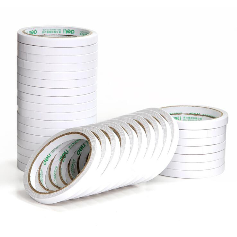 Tape Sponge Double-Sided Tape White Double-Sided Adhesive 9mm*9.1m Wide Durable Two-Sided Tape School Office Stationery