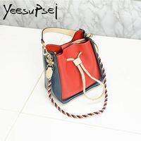 YeeSupSei Patch Color Women Sling Bag Small Bucket Tote Bag Real Leather Handbag Crossbody Knit Shoulder Belt Female Sac A Main