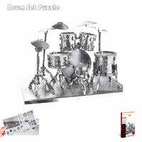 Piececool Drum Kit 3D Metal Puzzle Musical Instrument 3D Metallic Model Kits DIY Funny Metal Earth