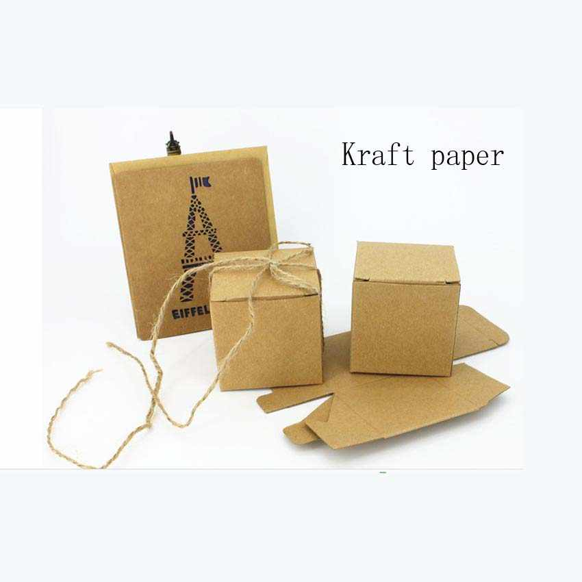 vintage Kraft candy chocolate paper gift box for wedding birthday tea party favor decoration Wh