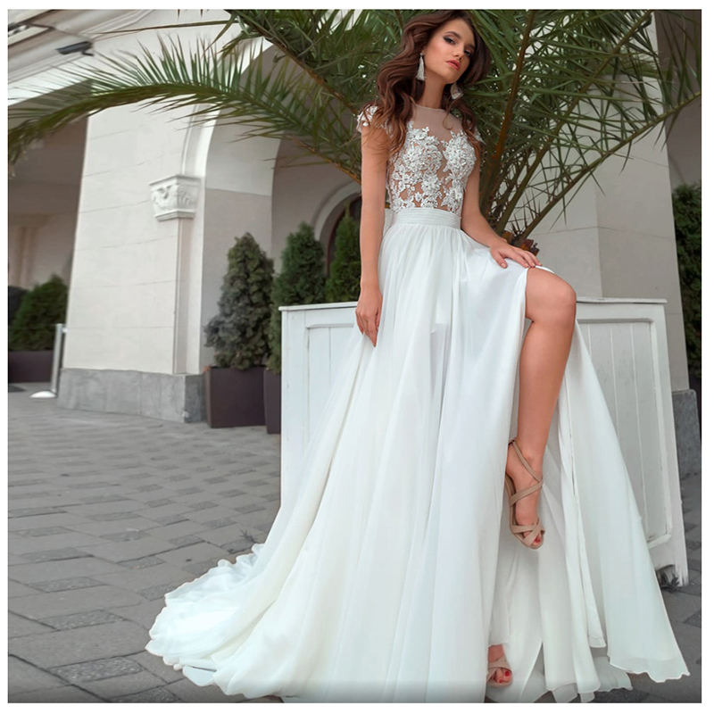New Boho Wedding Dress High Split Appliques Chiffon Bride Dress Scoop A-Line Wedding Gown 2019