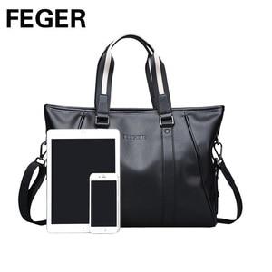 Image 2 - Повседневная Сумка тоут, мужская сумка через плечо, портфель для ноутбука, мужская из искусственной кожи сумка, брендовая деловая ручная сумка, мужские сумки, сумки FEGER