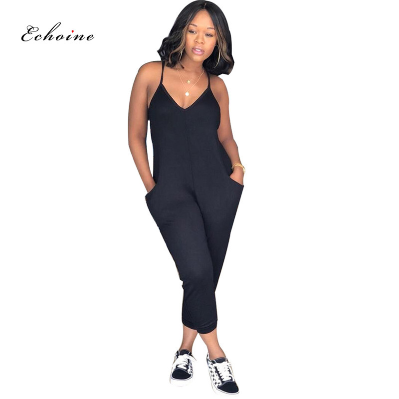 93c481cfec Echoine Women Jumpsuit Sexy Spaghetti Straps Pockets Sleeveless Long Pencil  Pants Casual Rompers ...