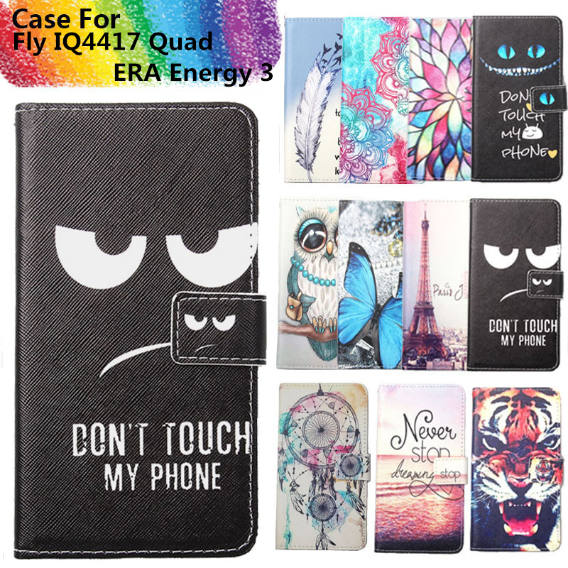Fashion 11 Colors Cartoon Painting PU Leather Magnetic clasp Wallet Cover For Fly IQ4417 Quad ERA Energy 3 Case