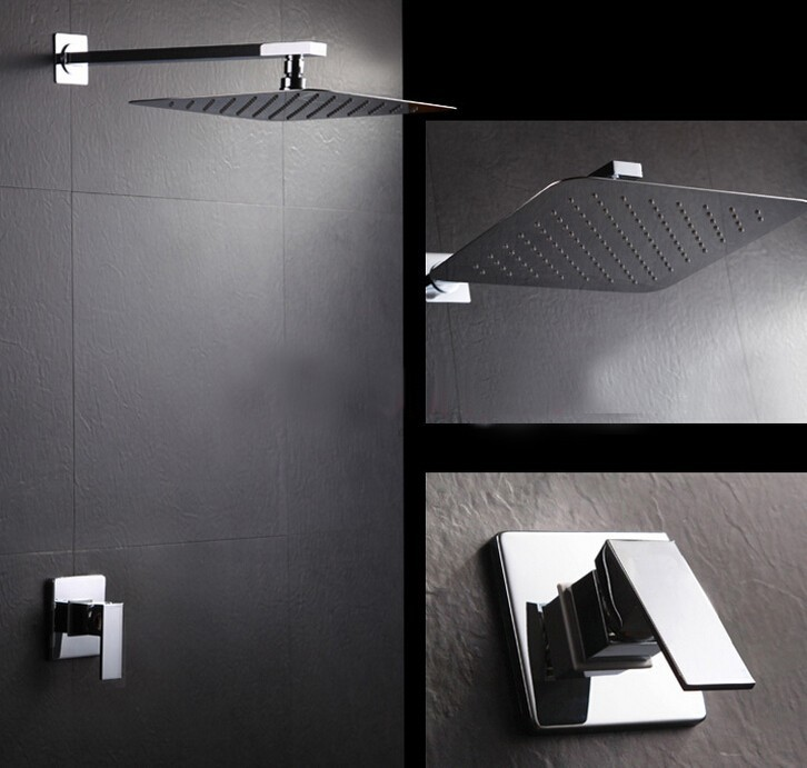 Free Shipping Concealed Shower Set Faucets 8 or 10 inch Ultra-Thin rainfall square SUS 304 shower head,Bath tap