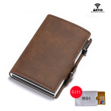 BISI GORO Card Holder 2019 New RFID Slim Suitcase Business Luxury Case Vintage Wallet Anti-theft Drop-shipping