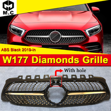 W177 A class A45AMG grille grill Diamonds style Sport With Camera For MercedesMB grills ABS black Without Sign From june 2018 On