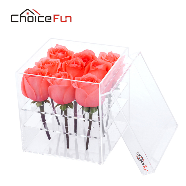 CHOICE FUN Luxury Handmade 9 Holes Clear Plastic Gift Acrylic Rose Flower Box With Lid  sc 1 st  AliExpress.com & CHOICE FUN Luxury Handmade 9 Holes Clear Plastic Gift Acrylic Rose ... Aboutintivar.Com