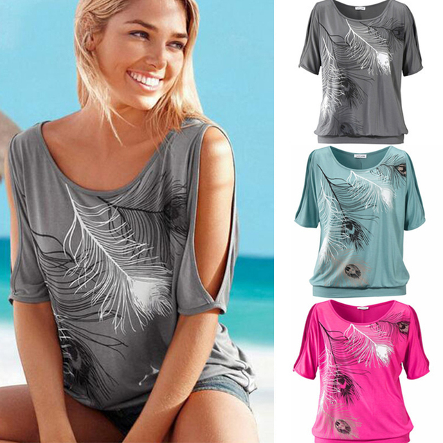 Cold Shoulder Feather Print Slit Sleeve Women Casual Summer T Shirt 3