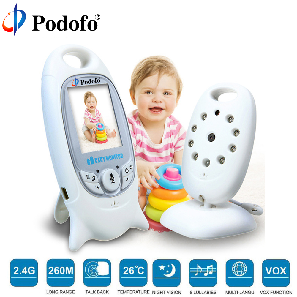 Podofo Wireless Video Baby Monitor 2.0 Color Security Camera 2 Way Talk Night Vision IR Temperature Monitoring with 8 Lullaby wireless lcd audio video baby monitor security camera baby monitor with camera 2 way talk night vision ir temperature monitoring