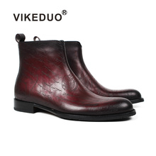 VIKEDUO Handmade Autumn New Men's Boots Letter Laser Patina Blake Ankle Boot Genuine Cow Leather Classic Male Shoe Zapato Hombre все цены