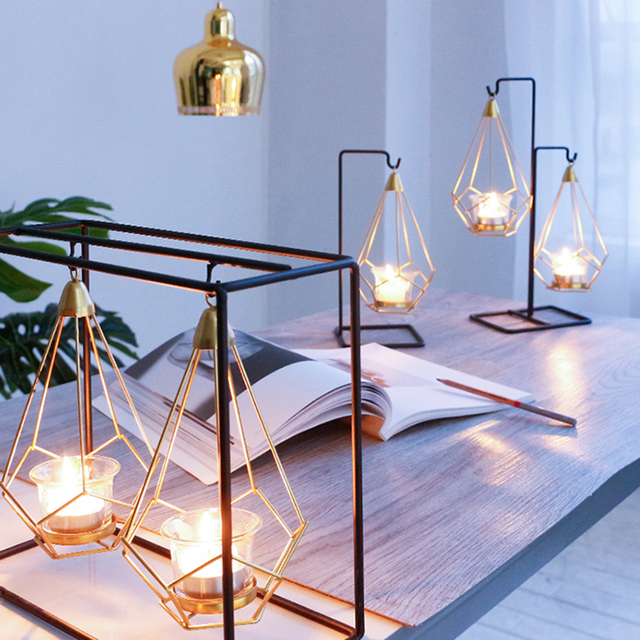 Novelty Nordic golden metal candle holders 6 styles modern simple candles for bedroom holiday living room restaurant washingroom 5