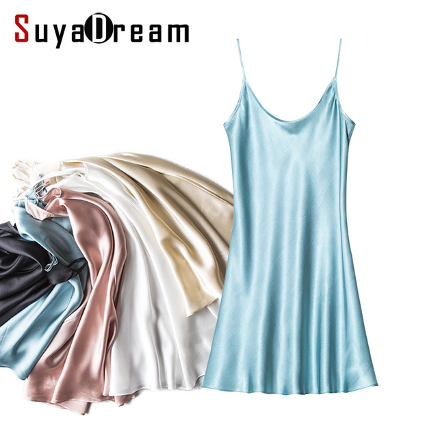 100%Real Silk Sleep dress Women Solid Mini dress Luxury Natural silk Satin Adjustable strap sleepdress 2017 Spring New